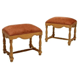 Carved Pine and Upholstered Stools - A Pair