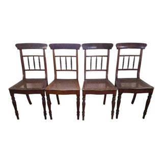 Antique French Style Caned Dining Chairs - Set of 4