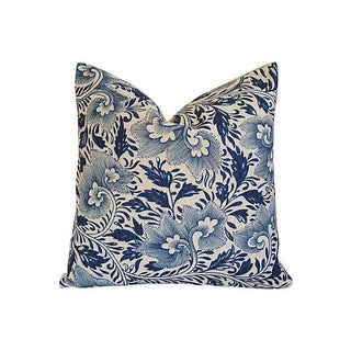 Indigo Blue Floral Linen Down & Feather Pillow