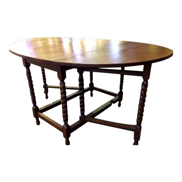 Antique Oak Drop Leaf Table - Image 1 of 6
