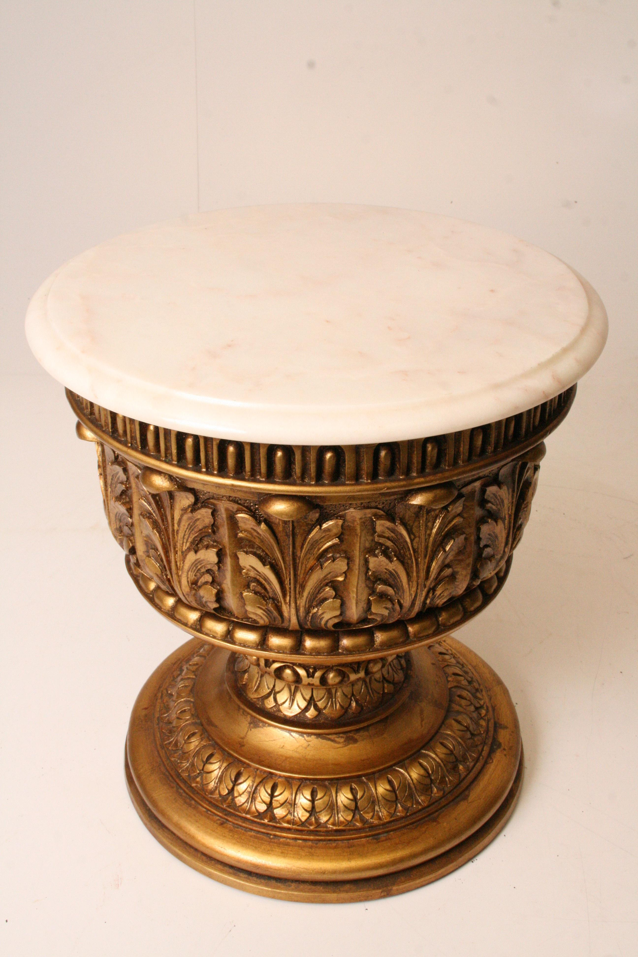 French Style Gold Side Table With Marble Top | Chairish