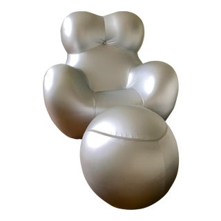 Pesce Modern Silver Chair & Sphere Footrest- Set of 2