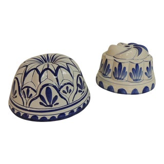 Vintage Blue and White Round Ceramic Molds - A Pair