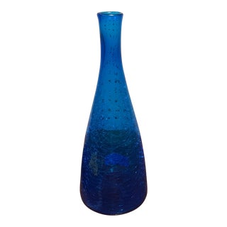 Handblown Blenko Blue Crackle Vase
