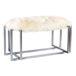 White Sheepskin & Silver Metal Bench
