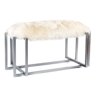 White Sheepskin & Silver Metal Bench
