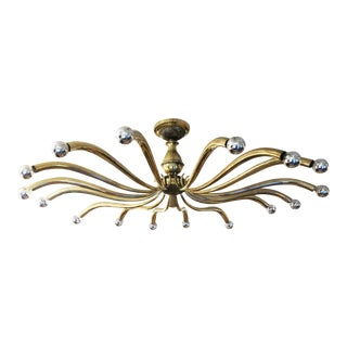 Large Brass Chandelier Attributed to Guglielmo Ulrich