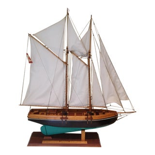 1972 Bluenose Schooner Ship Model Signed