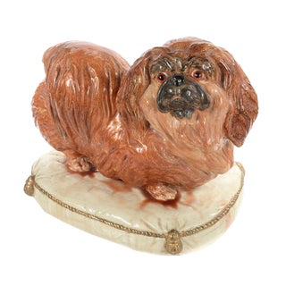 Pekingese Dog on Pillow Antique English Sculpture