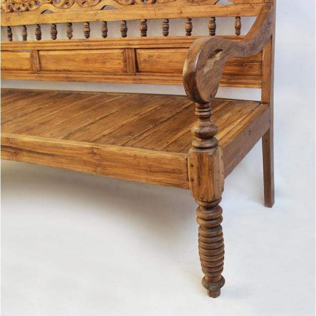 Indonesian Teak Carved Bench Chairish