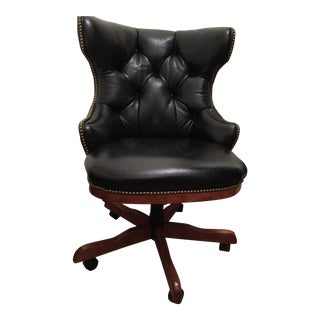Century Furniture Black Leather Desk Chair