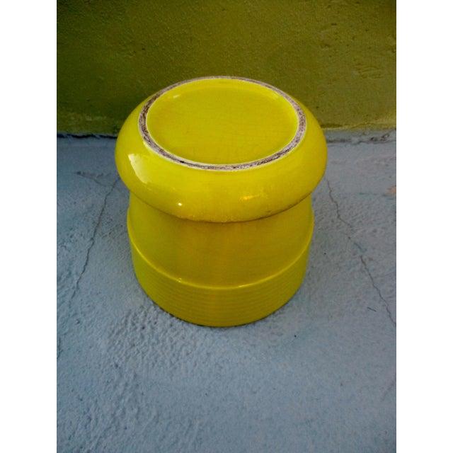 Image of Mid-Century Yellow Ceramic Planter Pot & Iron Tripod Stand