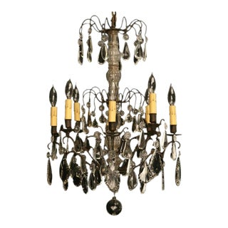 Vintage French Crystal 8 Light Chandelier