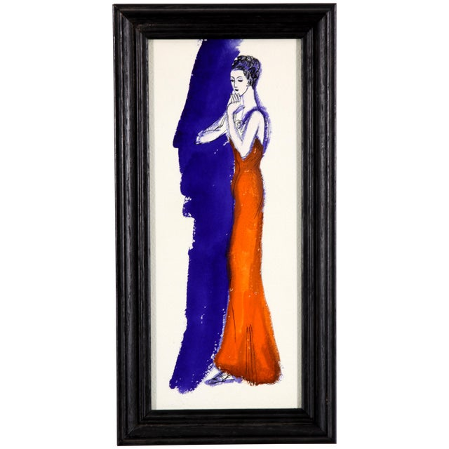 Barbara Berhardt Evening in Orange Watercolor - Image 1 of 6