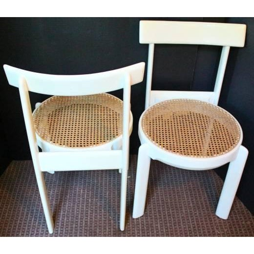 Midcentury Italian White Lacquered Chairs - A Pair - Image 6 of 10