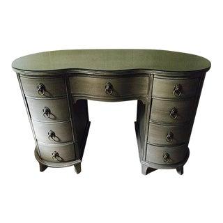 Vintage Hand Painted Grey Curved Desk