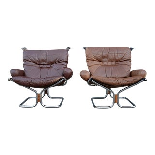 Danish Modern Ingmar Relling for Westnofa Leather Lounge Chairs - A Pair