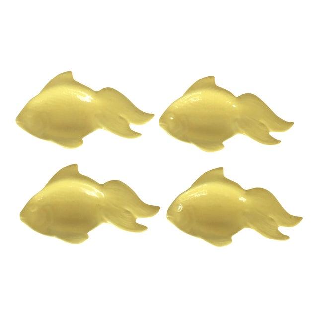 Image of Yellow Ceramic Goldfish Dishes - Set of 4