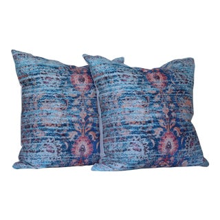 A Pair of Blue Ikat Distressed Print Pillow Cover -16''