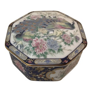 Vintage China Peacock Motif Trinket Box
