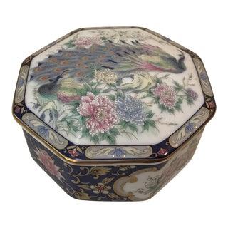 Vintage China Peacock Motif Trinket Box