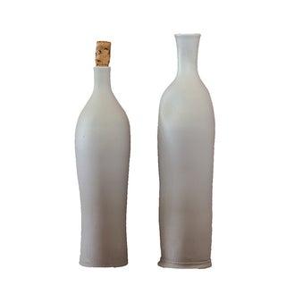 Light Gray Vintage Ceramic Bottles/Vases - Pair
