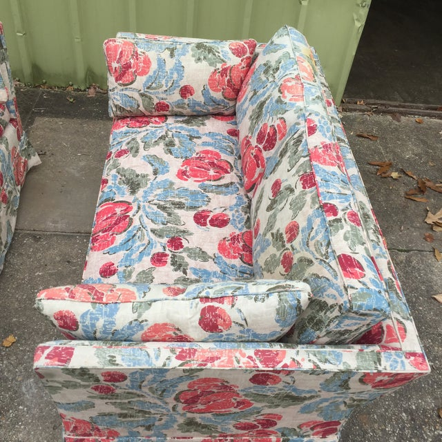 Vintage Mid-Century Modern Floral Love Seats - a Pair - Image 4 of 11