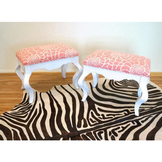 Vintage Coral & White Nautilus Benches - A Pair - Image 6 of 6