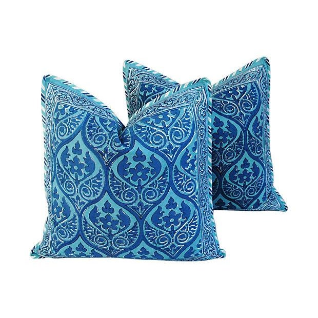 Custom Blue Hand-Blocked & Printed Pillows - Pair - Image 1 of 6