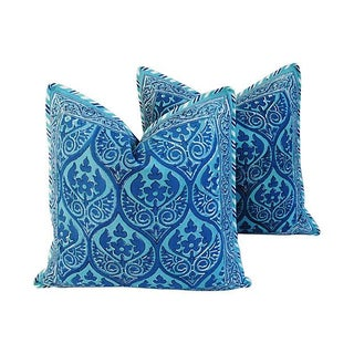 Custom Blue Hand-Blocked & Printed Pillows - Pair