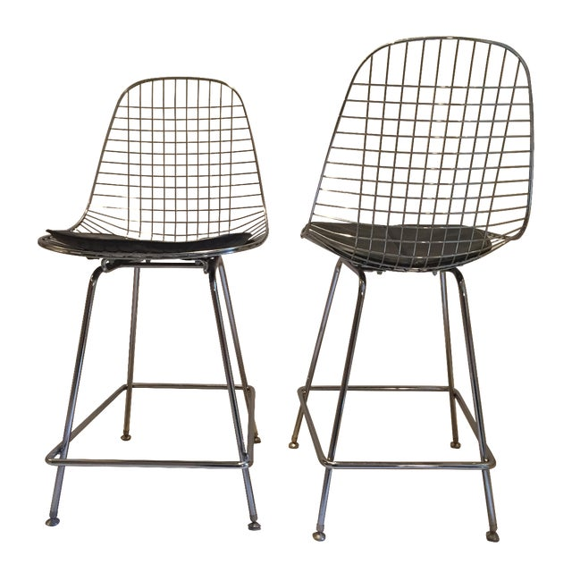 Modernica Counter Height Wire Stools - A Pair - Image 1 of 7