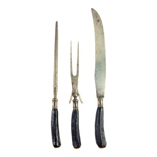 Silver & Black Stag Handle Carving Set