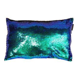 Blue & Green Sequin Sssss Pillow