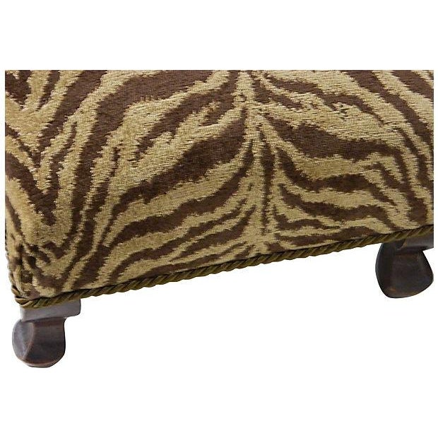 Vintage Chenille Tiger Ottoman - Image 4 of 4