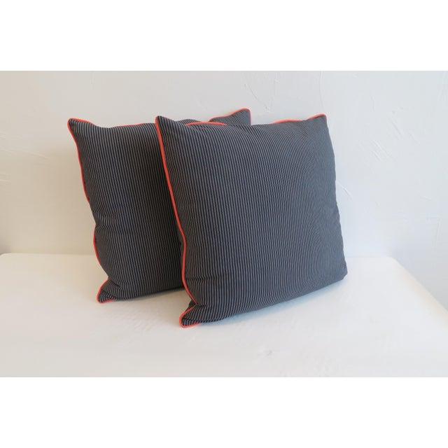 Custom Navy Stripe & Orange Trim Pillows - A Pair - Image 2 of 4