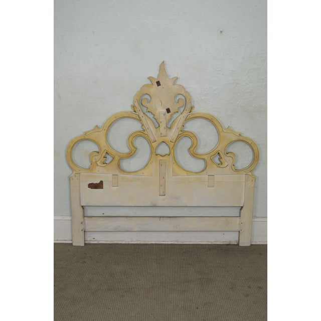 Vintage Queen Size Painted Rococo Style Headboard - Image 4 of 10