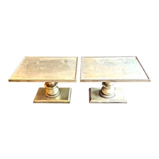 White Gold Leafed Side Tables - A Pair