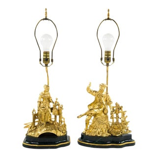 17th - 18th C Style Gold Gilt Figural Bucolic Lamps - a Pair