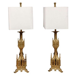 Antique Gilt Bronze Table Lamps with Shades - A Pair