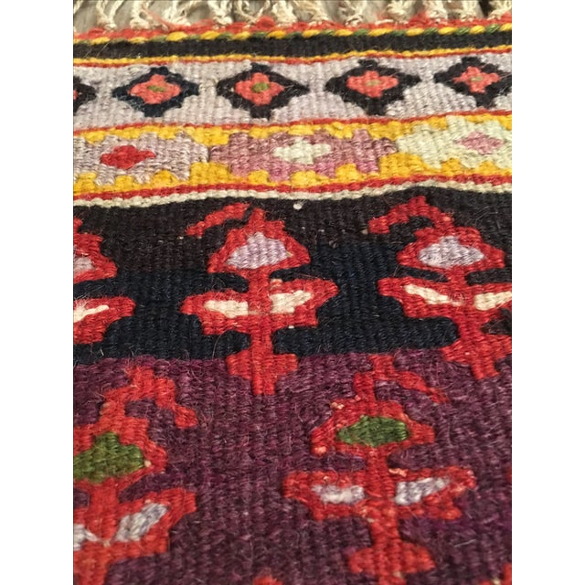 "Vintage Red & Purple Senneh Kilim - 3'4"" X 4'5"" - Image 7 of 9"