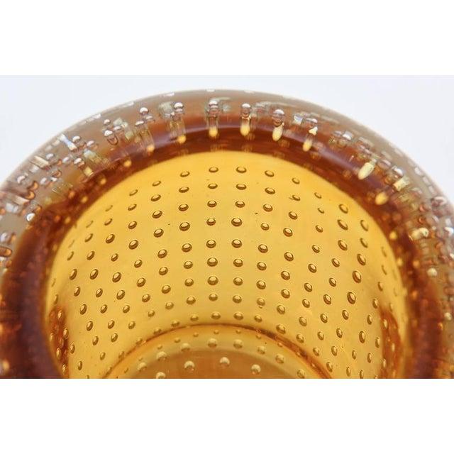 Heavy Bullecante Italian Murano Seguso Glass Vase or Candleholder - Image 8 of 8
