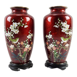 Red Japanese Cloisonne Vases - A Pair