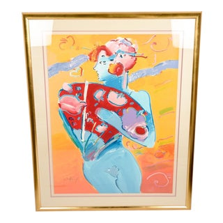 "Monumental Peter Max ""Fan Dancer"" Serigraph"