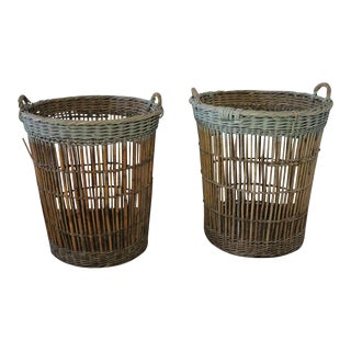 French Harvest Basket With Pale Aqua Paint - a Pair
