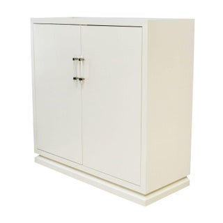 Ivory Lacquered Cabinet with Lucite Handles