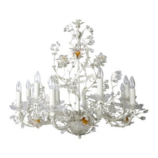 White Metal & Crystal Italian Chandelier