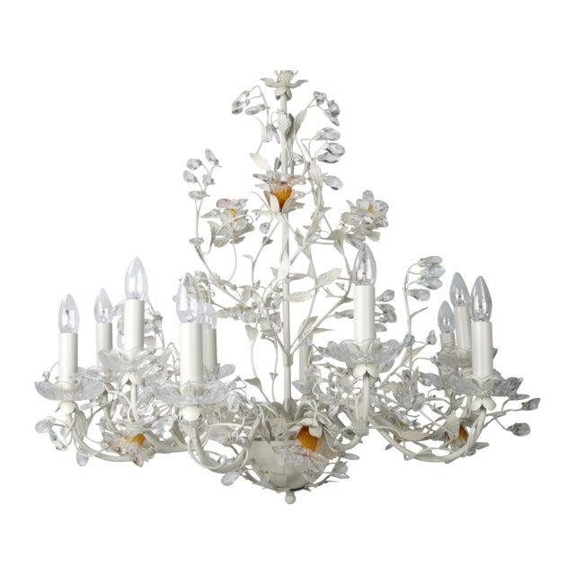 White Metal & Crystal Italian Chandelier - Image 1 of 11
