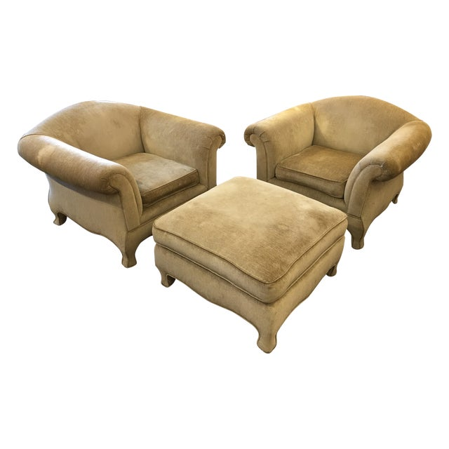 Two Upholstered Roll Arm Chairs & Ottoman - Image 1 of 8