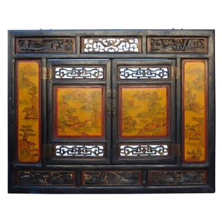 Chinese Carved Scenery Wall Panel in Yellow