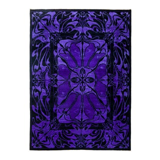 "Black & Purple Hand Knotted Area Rug - 6'1"" X 8'4"""